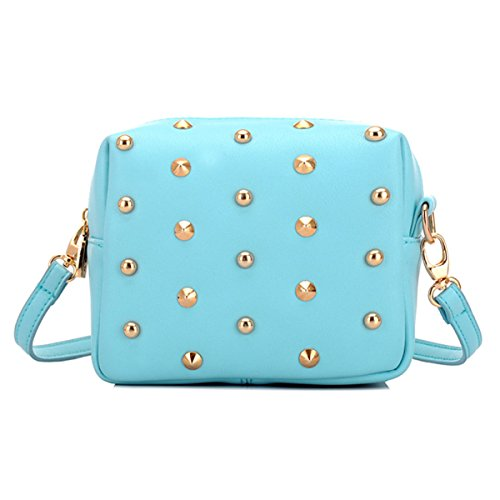 Mini Borsa A Tracolla Mini Frizione Bling Rivetta Borsa Laterale Per Le Ragazze,Pink LightBlue