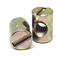 JER 10pcs métricas M6 barril nueces Cruz Pasadores ranurados Tuercas para la mayoría de muebles camas cuna Sillas de oro