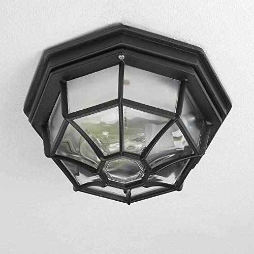 Lampada da esterno rustica da soffitto rustica per esterni lampada da esterno piatta in nero e27 fino a 100w ip54 per l'illuminazione della lampada da giardino a soffitto del cortile