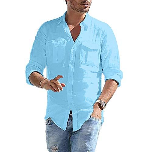 Xmiral Shirt Hemd Herren Langärmlig Stehkragen Einfarbig Brusttasche Tops T-Shirt Retro Baumwollmischung Hemde Lose Geschäft Bluse(Blau,3XL)
