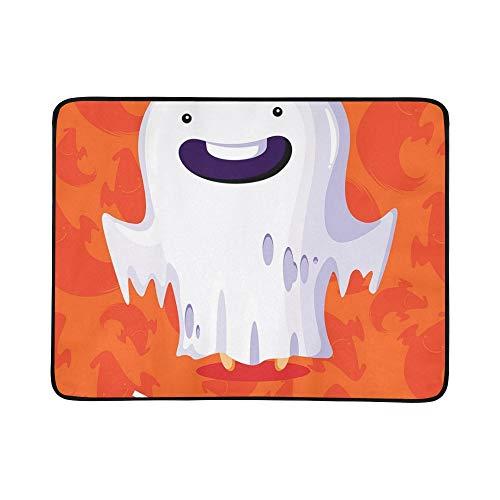 KAOROU Halloween Poster Trick Treat Ghost Tragbare und Faltbare Deckenmatte 60x78 Zoll Handliche Matte für Camping Picknick Strand Indoor Outdoor ()