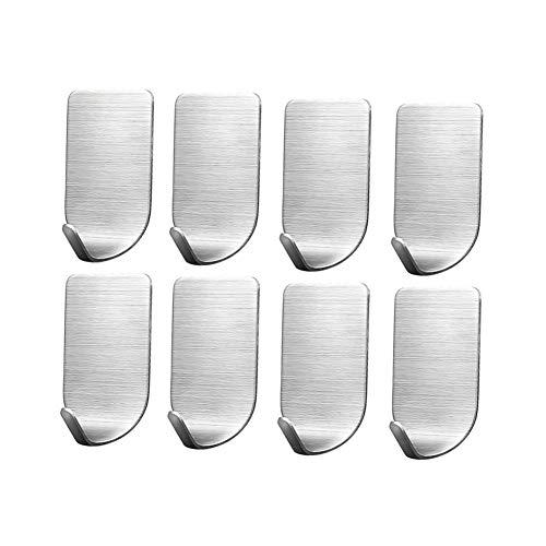 Lot de 8crochets autocollants Winarrow - Inox durable - Respectueux de l'environnement - Autocollants haute viscosité - Résistants à la rouille - Pour cuisine, salle de bain, chambre à coucher, porte-serviette