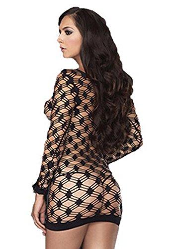 Cindio sexy erotische Gogo kleid Clubwear Grobnetz-Minikleid OS Leg Avenue. Größe: One Size (Einheitsgröße S-L)