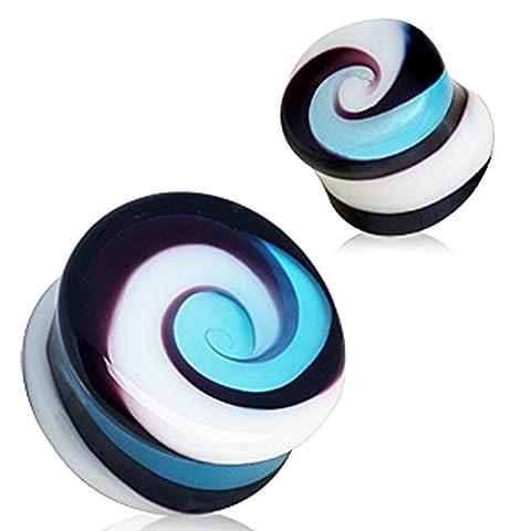 5 mm Bleu Aqua et blanc Swirl verre selle boucle d'oreille plug Élargisseur