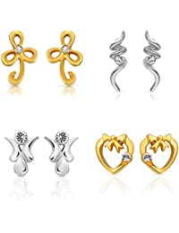 Diwali Gifts -Mahi Gold & Rhodium Plated Combo Of Four Stud Earrings With Crystals For Women CO1104626M
