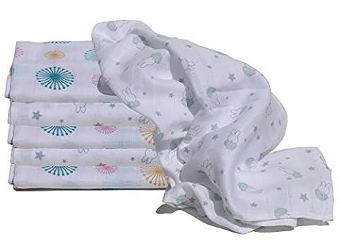 Mulltücher Sternen-Häschen Pusteblume Set 6 Stück Spucktücher Premium-Qualität (Häschen Pusteblume mint)