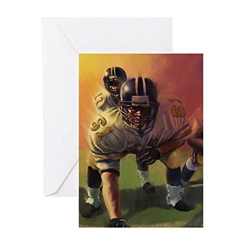 CafePress–Fußball Spieler Gemälde Grußkarten–Grußkarte, Note Karte, Geburtstagskarte, innen blanko, glänzend