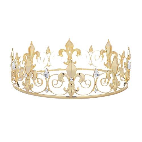 7 COLOR WINGS Royal Full King Tiara Kristall Krone Kronen und Diademe für Männer männlich Prom König Party Hüte Kostüm Zubehör (Gold)