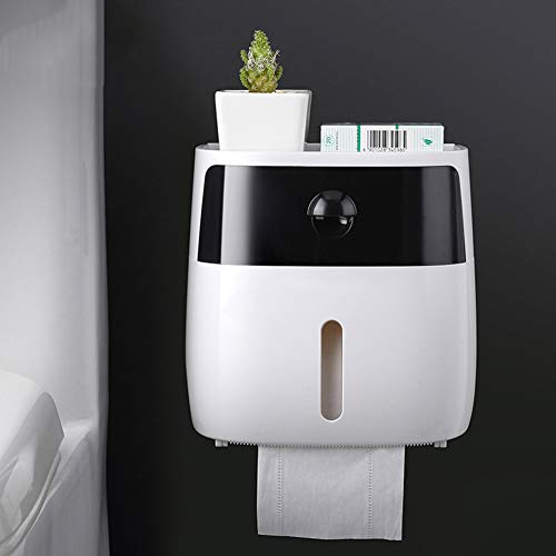ZYJ Toilettenpapierspender, Toilettenpapierspender zur gewerblichen Nutzung Toilettenpapierhalter zur Wandmontage Aufbewahrungsbox für Toilettenpapier,Black