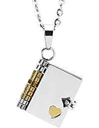 """AnaZoz Joyería de Moda Collar Colgante de Unisex Acero Inoxidable """"Love Story"""" Libro Colgante Collar Para Unisex"""
