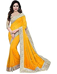 unique enterprise Women's Georgette Sarees With Blouse(pitchpatta)
