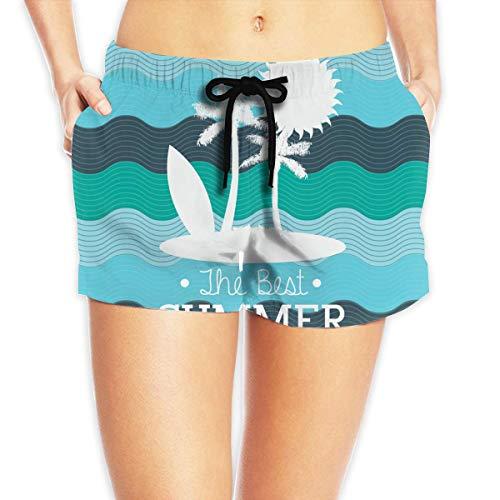 ERCGY Women's Beach Board Shorts Best Summer Sun Palm Tree Swim Trunks Briefs Swimsuit S - Palm Tree Swim Trunks