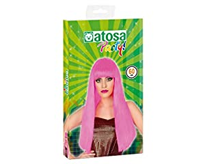 Atosa-39782 Peluca Lisa Larga Flequillo, Color rosa, única (39782