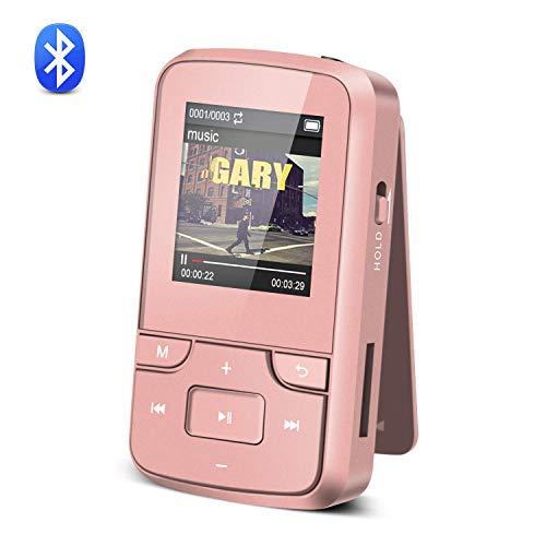 AGPTEK 8 GB Bluetooth 4.0 Clip Sport MP3-Player mit Kopfhörer, unterstützt FM Radio Aufnahmen, mit Armband und Silikon Fall, erweiterbar auf bis zu 128 GB, Rose Gold