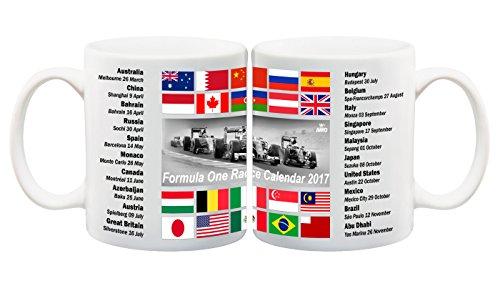 Juko F1 Race Calendar Fixtures Mug 2017 Formula One World Championship Lewis Hamilton