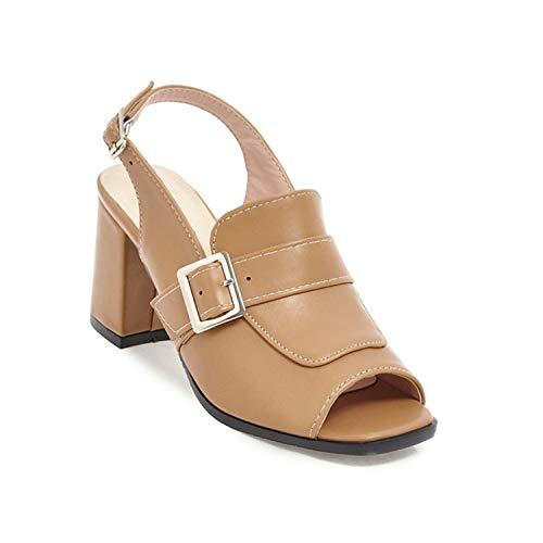 Woman Fashion squareHigh Heels Sandals Women Summer Open Toe Shoes 2019 Womens Female Buckle Slingback Casual Party Sandal apricot 5.5 - Leopard Vamp Denim