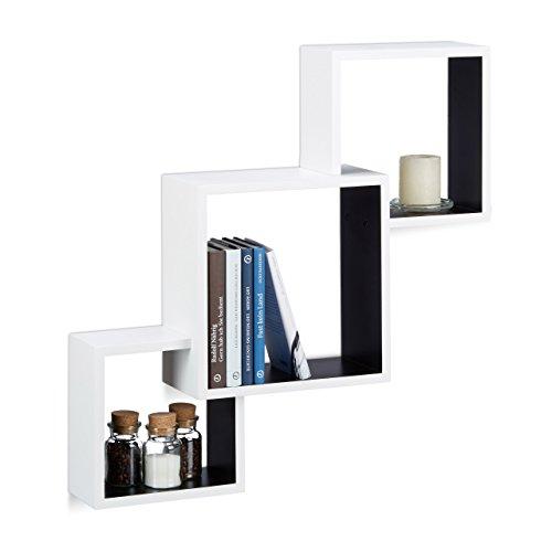 Schwarzes Quadrat-regal (Relaxdays Würfel Regal, Hängeregal Cube für Wand, freischwebendes Wandboard groß, MDF, HBT: 66x66x15 cm, weiß/schwarz)