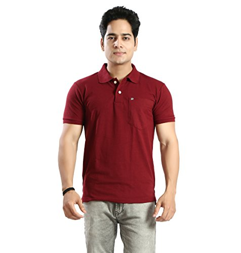 Basilio Men's Cotton Fabric Polo Neck with Pocket Solid T-Shirt-3XL