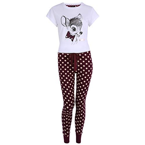 Weißer bordeauxfarbener Pyjama mit Bambi von Walt Disney - XL