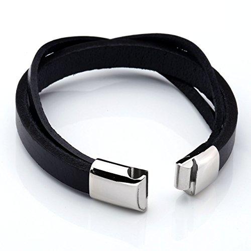 PiercingJ - Bijoux Bracelet Leather Cuir Veritable 3 Wraps Circonferences Croise avec Fermoir Acier Inoxydable Lien Poignet Manchette Biker Motard Chaine de Main Femme Homme Noir
