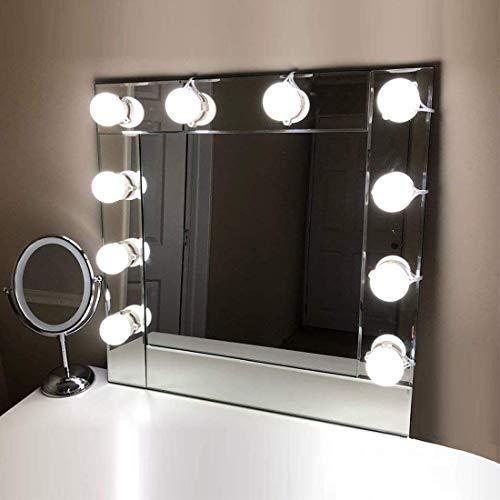 LED Spiegelleuchte, 10 LED Schminklicht für Spiegel, Make Up Hollywood Licht, Tomshine Schminktisch Beleuchtung mit 7000K, Spiegellampe, 5 Dimmbare Helligkeit, Spiegel nicht erhalten