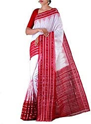 ODISHA HANDLOOM Women's Sambalpuri Cotton Saree Without Blouse Piece (o 4_Wh