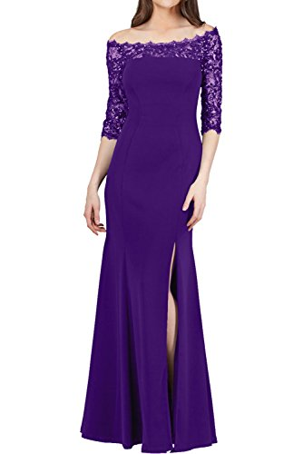 Victory Bridal Elegant Langes Chiffon Abendkleider Ballkleider langarm Promkleider Festlichkleider mit Strasse Lila