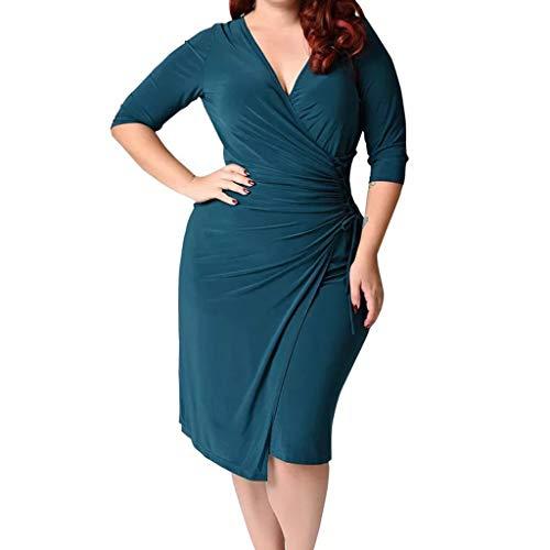 BHYDRY Frauen Plus Größe tiefem V-Ausschnitt Riemen Taille Hüftekleid(X-Large,Grün)