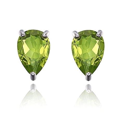 Special Offer...!! 1.00Ct Pear Peridot Stud Earring - Screw Back