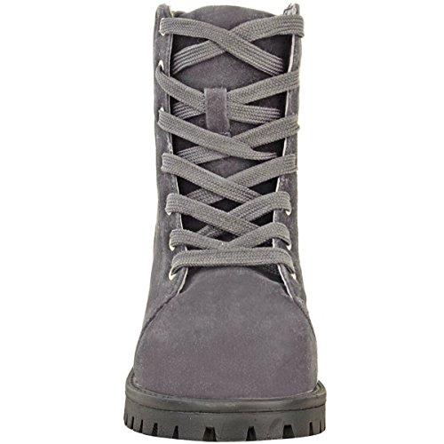 Travailleur Pour Célébrité Femmes Faux Bottines Femmes Armée Suédé Lacet Pointure Gris Militaire Chaussures q5HxXxwYR