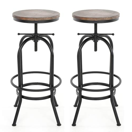 interougehome Lot de 2 Tabourets de Bar au Design Industriel Assise en Bois, chaises de Bar en Bois iKayaa