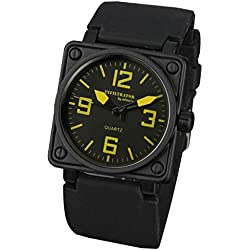INFANTRY® Mens Analogue Quartz Wrist Watch Yellow Square Black Rubber Silicone Strap INFILTRATOR