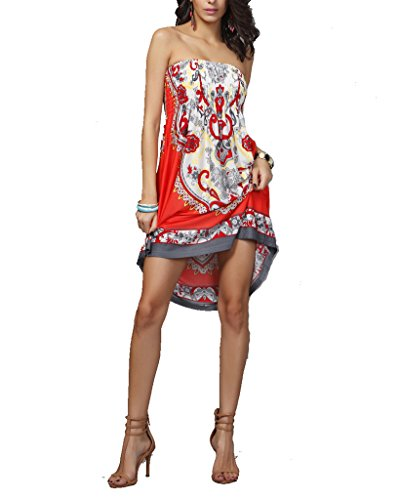 Vlunt Frauen Casual Boho Chiffon- weg von den Schulter-Minikleid-Kittel-Bluse Top E