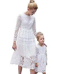 09840f971 Minetom Los Niños De Encaje Vestido Madre E Hija Padres E Hijos Equipo A-La