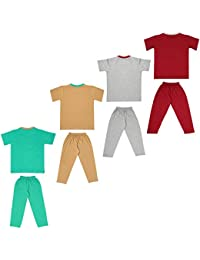Cherry Blossom Boys and Unisex Kids T Shirts and Full Pant Trouser - Combo Set Dress (Pack of 4)