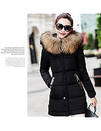 fengwen66 Moda Estilo Largo Mujer Abrigo de Invierno Delgado Engrosamiento algodón Invierno Chaqueta Negro 2XL