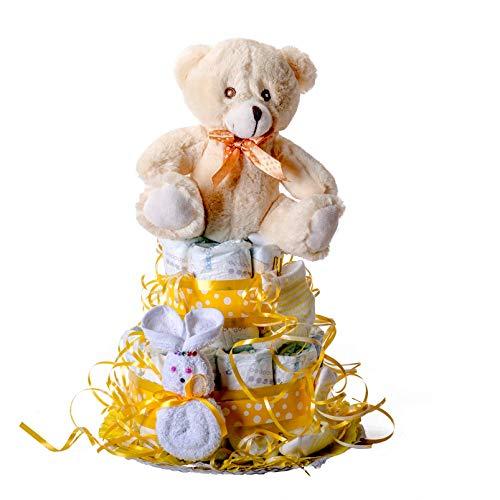 Flores AVRIL ofrece: tarta de pañales para bebé niño. Un regalo original para el bebé recién nacido...