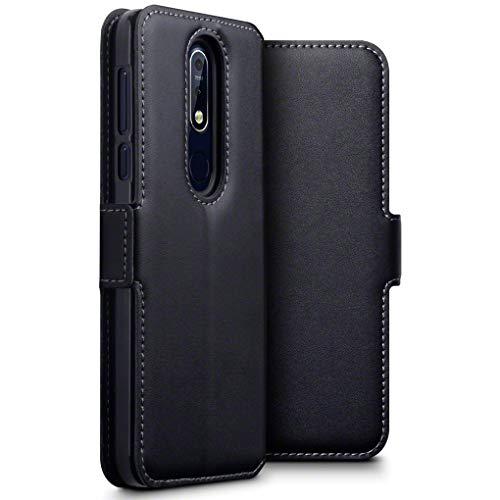 TERRAPIN, Kompatibel mit Nokia 7.1 Hülle, ECHT Leder Börsen Tasche - Ultra Slim Fit - Betrachtungsstand - Kartenschlitze - Schwarz EINWEG