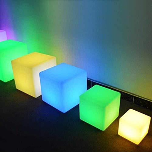 RGB LED Würfel Stuhl Nachtlicht Outdoor Party Hochzeit Garten Beleuchtung LED Möbel Bar Cube Indoor Hocker Kunststoff Tischlampen, 15x15x15 CM