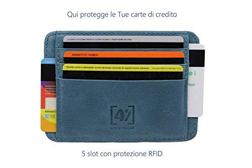 Portafoglio uomo, porta carte di credito mini, wallet in vera pelle, portamonete, RFID blocking