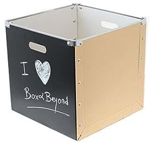 Box and Beyond 32090 Panier de Rangement Carton/Ardoise Brun/Noir 31 x 31 x 31 cm