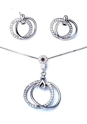Ana Morales Damen-Schmuckset 925 Sterling Silber Zirkonia + echter 925 Silberkette