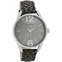 Oozoo JR284Women's/Children's Watch Dark Grey Matte Crocodile 38mm–Leather strap