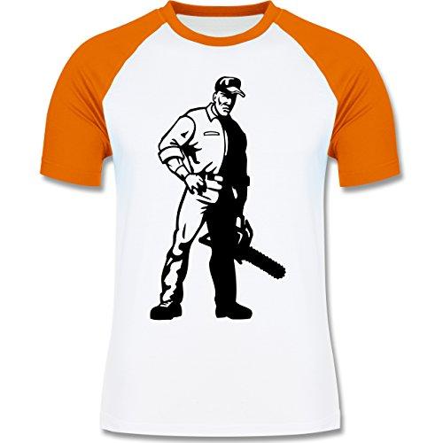 Handwerk - Holzfäller - Herren Baseball Shirt Weiß/Orange