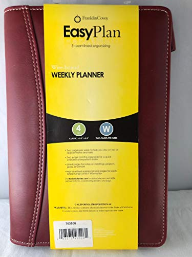 Franklin Covey Easy Plan Wochenplaner mit Spiralbindung, Leder, Rot (Covey Terminkalender)
