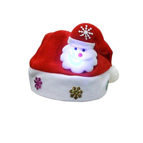 ederverwendbare Erwachsene LED Weihnachtshut Santa Claus Rentier Schneemann Weihnachten Geschenke Mütze (One Size, B) ()
