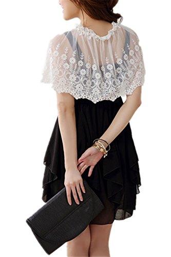 Monissy Femmes Châle Byjia Mariée Dentelle Fine Couche Petit Châles Mariée Wrap Lace Blanc