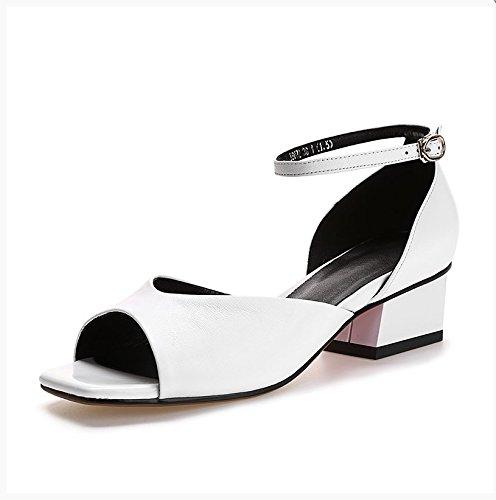 Estate moda donna sandali comodi tacchi alti,36 nudo White