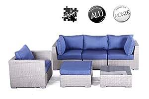SOLEIL JARDIN - Salon de jardin en résine tressée demi-ronde 5 places BALI gris clair coussins bleus