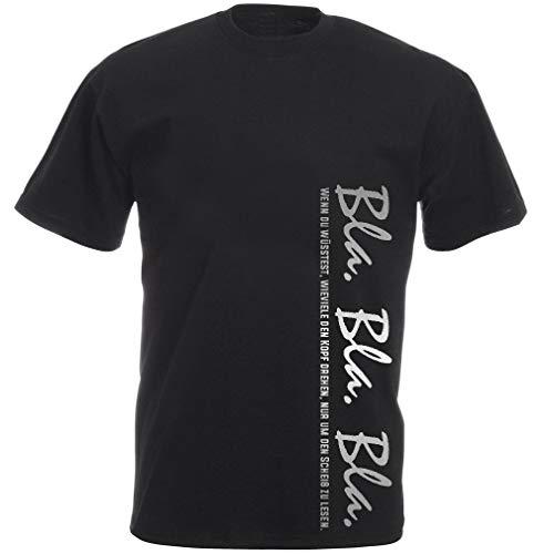Lustige witzige Sprüche T-Shirt Unisex Kurzarm mit Aufdruck in Silber - Bla Bla Bla - Wenn du wuesstest, wieviele den Kopf drehen